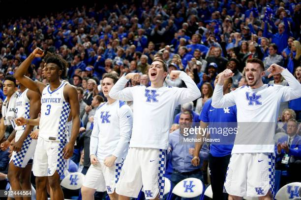 The Kentucky Wildcats bench celebrates after a basket against the Vanderbilt Commodores during the second half at Rupp Arena on January 30 2018 in...