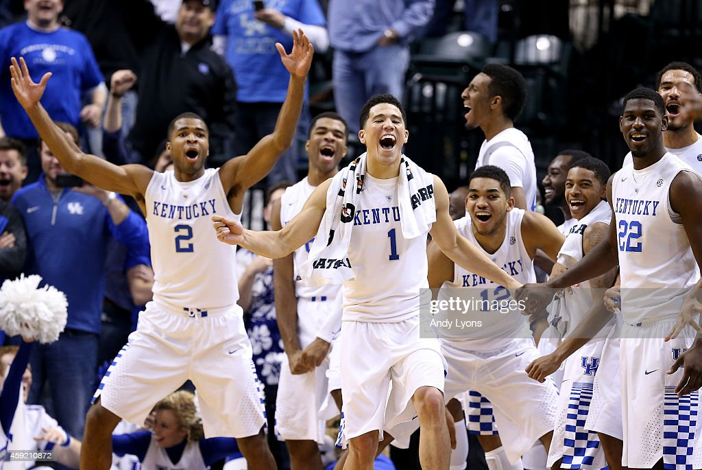 The Kentucky Wildcats bench celebrates during the 72-40 win over the Kansas Jayhawks in the State Farm Champions Classic at Bankers Life Fieldhouse on November 18, 2014 in Indianapolis, Indiana.