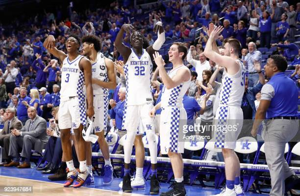 The Kentucky Wildcats bench celebrates during the game against the Missouri Tigers at Rupp Arena on February 24 2018 in Lexington Kentucky