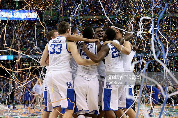 The Kentucky Wildcats celebrate after defeating the Kansas Jayhawks 6759 in the National Championship Game of the 2012 NCAA Division I Men's...