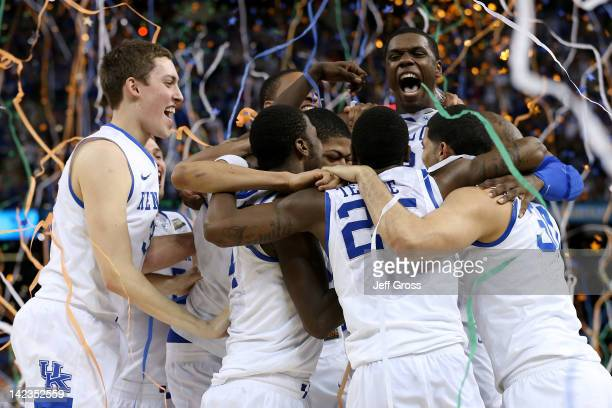 The Kentucky Wildcats celebrate after defeating the Kansas Jayhawks 67-59 in the National Championship Game of the 2012 NCAA Division I Men's...