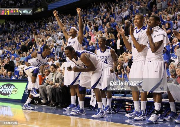 The Kentucky Wildcats celebrate during the SEC game against the Arkansas Razorbacks on January 23, 2010 at Rupp Arena in Lexington, Kentucky....
