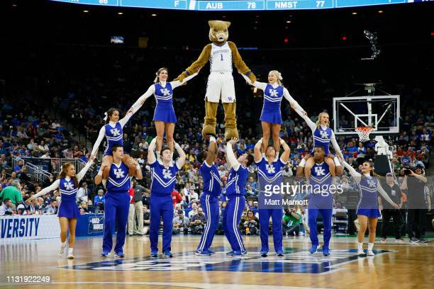 The Kentucky Wildcats cheerleaders and mascot perform during a game against the Abilene Christian Wildcats in the first round of the 2019 NCAA Photos...