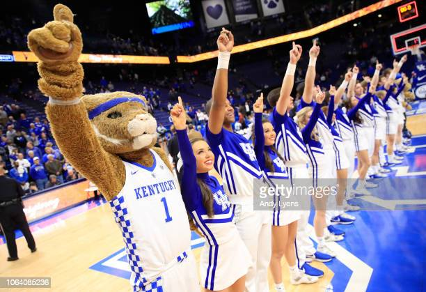 The Kentucky Wildcats cheerleaders perform after the game against the Winthrop Eagles at Rupp Arena on November 21, 2018 in Lexington, Kentucky.