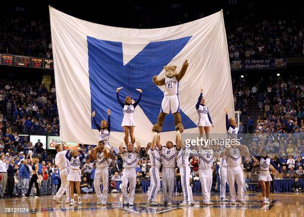 The Kentucky Wildcats cheerleaders perform during the game against the Stony Brook Seawolves on November 27 2007 at Rupp Arena in Lexington Kentucky