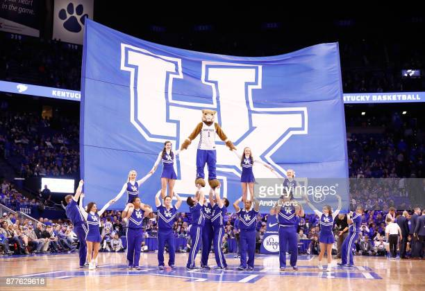 The Kentucky Wildcats cheerleaders perform in the game against the IPFW Mastodons at Rupp Arena on November 22 2017 in Lexington Kentucky
