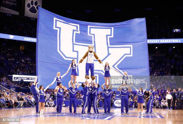 The Kentucky Wildcats cheerleaders perform in the game against the IPFW Mastodons at Rupp Arena on November 22, 2017 in Lexington, Kentucky.