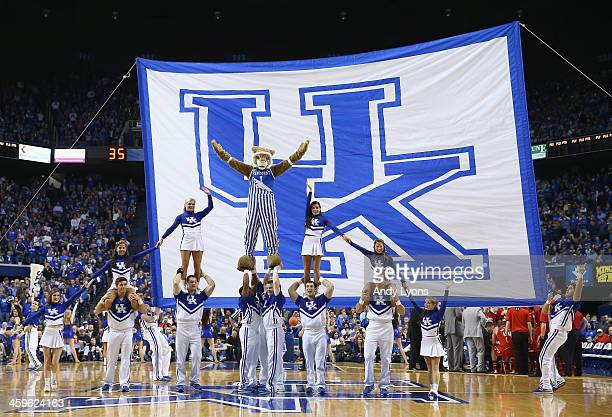 The Kentucky Wildcats cheerleaders performs during 7366 win over the Louisville Cardinals at Rupp Arena on December 28 2013 in Lexington Kentucky