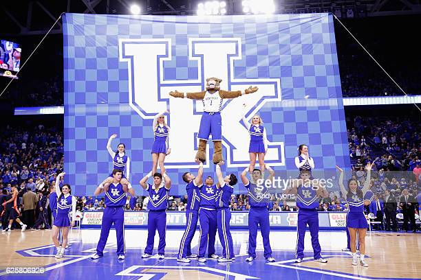 The Kentucky Wildcats cheerleaders performs during the game against the Tennessee Martin Skyhawks at Rupp Arena on November 25 2016 in Lexington...