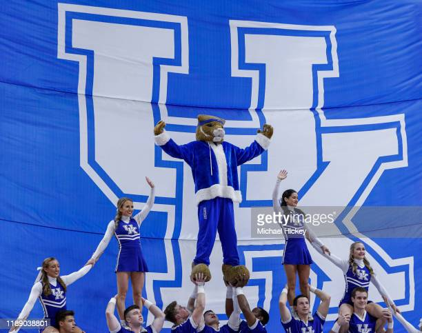 The Kentucky Wildcats mascot and cheerleaders are seen during the game against the Georgia Tech Yellow Jackets at Rupp Arena on December 14, 2019 in...