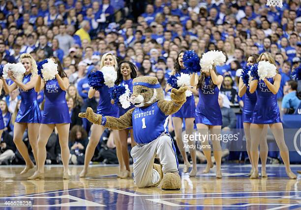 The Kentucky Wildcats mascot and cheerleaders perform during the game against the Florida Gators at Rupp Arena on March 7 2015 in Lexington Kentucky