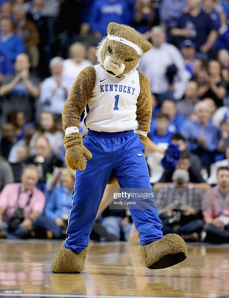 The Kentucky Wildcats mascot performs during the game against the Texas Longhorns at Rupp Arena on December 5, 2014 in Lexington, Kentucky.