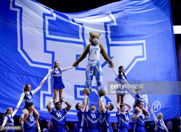 The Kentucky Wildcats mascot preforms with the cheerleading team during a timeout of the game against the Florida Gators at Rupp Arena on February 22...