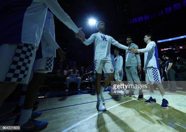 The Kentucky Wildcats take the court against the Monmouth Hawks at Madison Square Garden on December 9 2017 in New York City This photo is part of a...