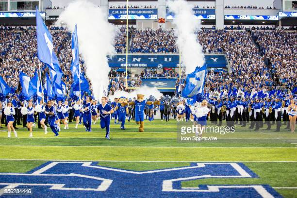 The Kentucky Wildcats take the field during a regular season college football game between the Florida Gators and the Kentucky Wildcats on September...