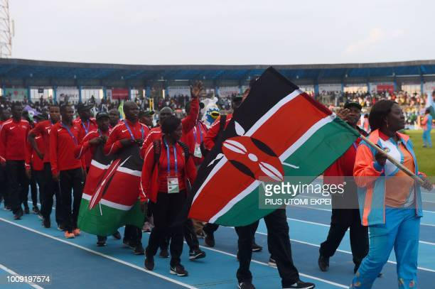 The Kenyan contingent marches during the opening of the 21st African Senior Athletics Championships at the Stephen Keshi Stadium in Asaba Delta State...