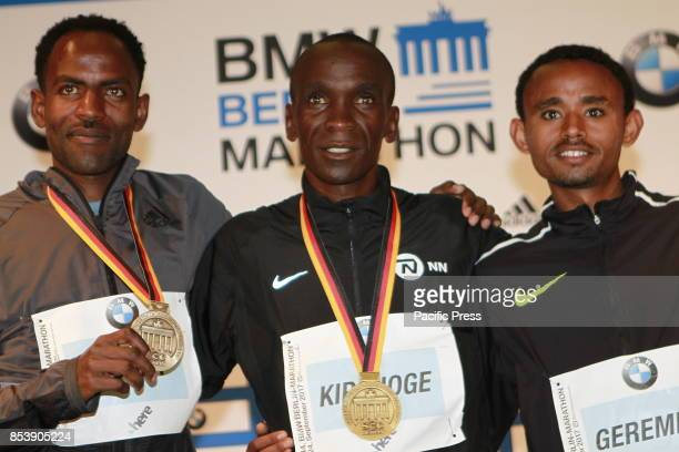 The Kenyan Eliud Kipchoge won the Berlin Marathon The photo shows Kenyan Eliud Kipchoge Ethiopian Guye Adola and Mosinet Geremew at the press...