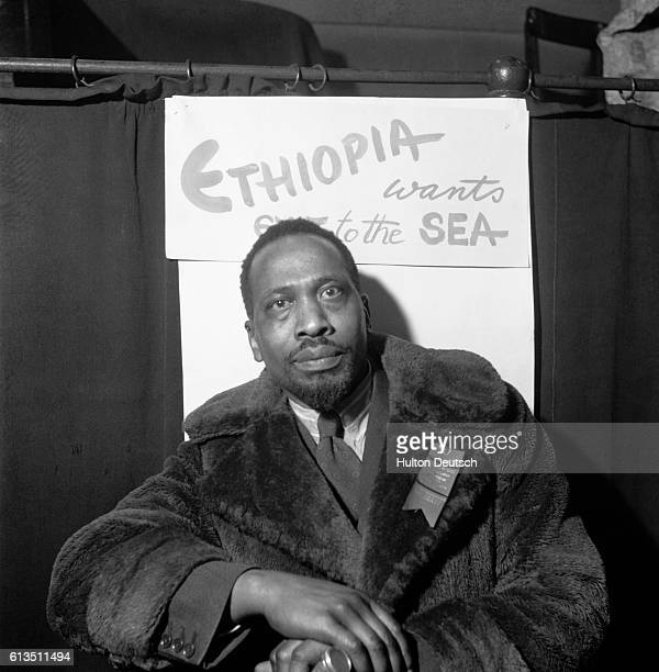 The Kenyan politician and later the first President of the Republic of Kenya Jomo Kenyatta at the 1945 Pan African Congress in Manchester