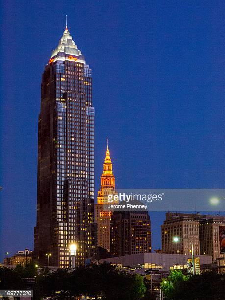 The Key Tower and Terminal Tower Light up the night skyline of Cleveland