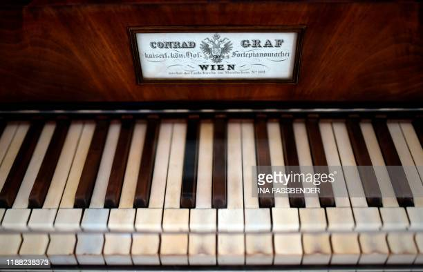 The keyboard of Beethoven's last grand piano a pianoforte built by Viennese piano manufacturer Conrad Graf is seen at the Beethoven House in Bonn...