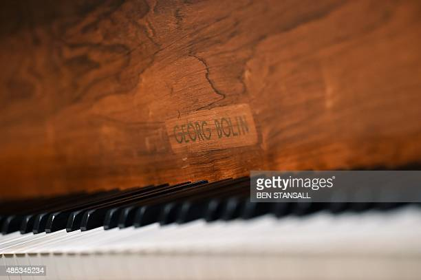 "The keys of a ""Bolin Grand Piano,"" made by Swedish designer Georg Bolin, are pictured during a photocall to promote the piano's forthcoming sale, at..."