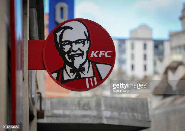 The KFC logo is pictured outside a branch of KFC that is closed due to problems with the delivery of chicken on February 20 2018 in Bristol England...