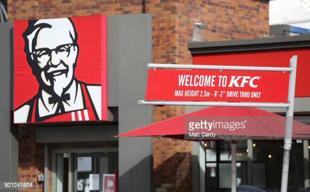 The KFC logo is pictured outside a branch of KFC that is operating a limited menu due to problems with the delivery of chicken on February 20 2018 in...