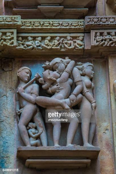 the khajuraho temple sculpture of india - khajuraho stock pictures, royalty-free photos & images