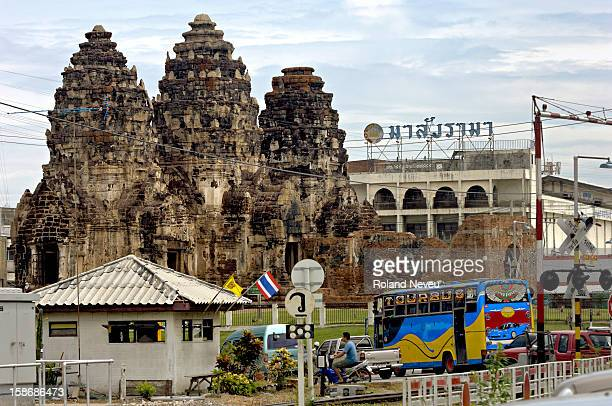 The Khmer ruins in the center of the Lopburi town Central Thailand