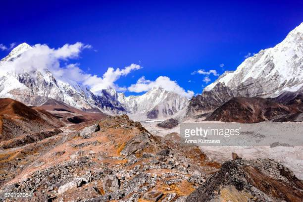 The Khumbu glacier and the mountains view from above the village of Lobuche, very close to the Everest base camp in the Himalayas in Nepal