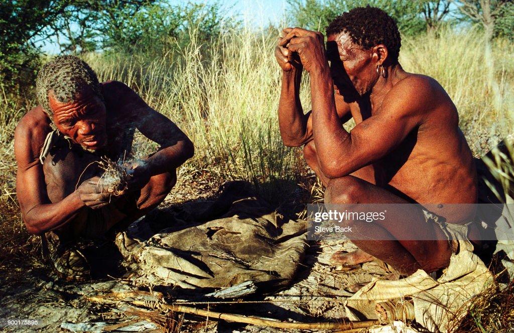 The KHWE Bushman of the Kalahari Desert in Botswana Africa... : News Photo