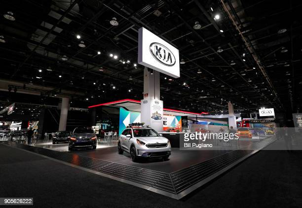 The Kia exhibit is shown at the 2018 North American International Auto Show January 16, 2018 in Detroit, Michigan. More than 5,100 journalists from...