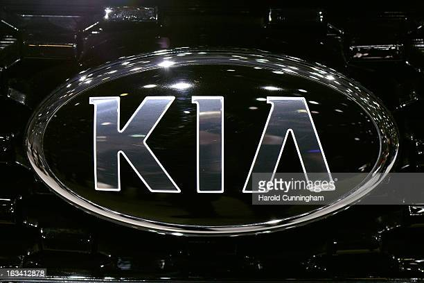 The KIA logo is seen during the 83rd Geneva Motor Show on March 6 2013 in Geneva Switzerland Held annually with more than 130 product premiers from...