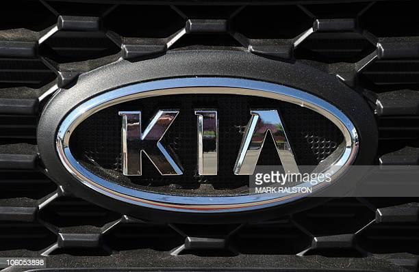 The KIA logo on a KIA Sorento sport utility vehicle which is one of the two vehicles subject to the US recall by the KIA Motors, at a dealer in Los...