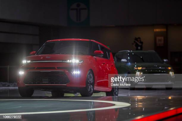The Kia Soul GT Line and X Line are shown during the auto trade show AutoMobility LA at the Los Angeles Convention Center on November 28 2016 in Los...