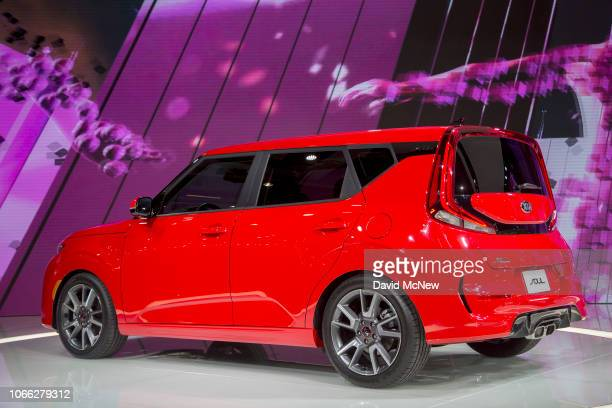 The Kia Soul GT Line is shown during the auto trade show AutoMobility LA at the Los Angeles Convention Center on November 28 2016 in Los Angeles...