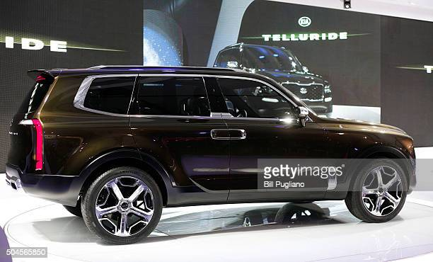 The Kia Telluride SUV Concept is revealed to the news media during the 2016 North American International Auto Show January 11 2016 in Detroit...