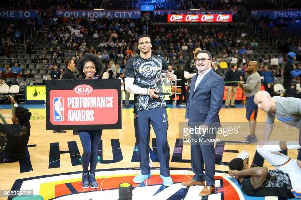 The KIA Western Conference Player of the Month award is presented to Russell Westbrook of the Oklahoma City Thunder before the game against the...