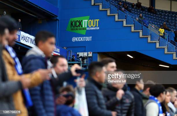 The Kick it out campaign logo seen inside the stadium before the Premier League match between Chelsea FC and Leicester City at Stamford Bridge on...