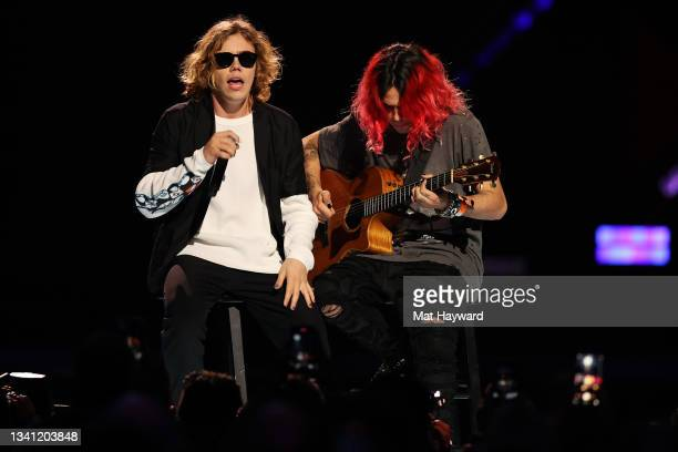 The Kid LAROI and Omer Fedi perform during the 2021 iHeartRadio Music Festival at T-Mobile Arena on September 18, 2021 in Las Vegas, Nevada.