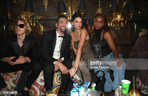 The Kid LAROI, John Terzian, Kendall Jenner, and Justine Skye attend h.wood Group's grand openingof Delilah at Wynn Las Vegas on July 10, 2021 in...