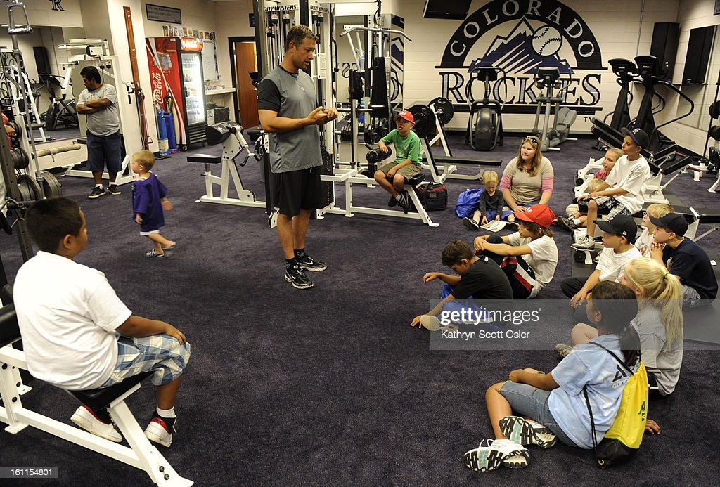 The kids get a lesson in nutrition and strength training from the