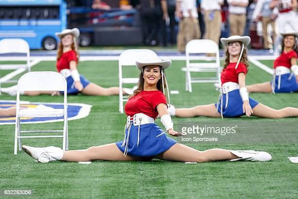 The Kilgore College Rangerettes perform during the Cotton Bowl matchup between the Western Michigan Broncos and the Wisconsin Badgers on January 2...