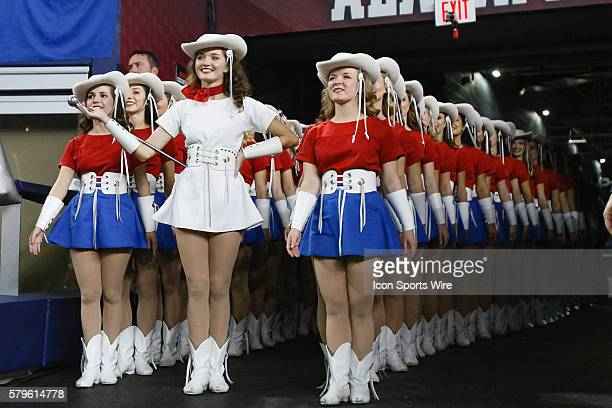 The Kilgore Rangerettes wait to perform prior to the NCAA College Football Playoff Semifinal Cotton Bowl between the Michigan State Spartans and the...