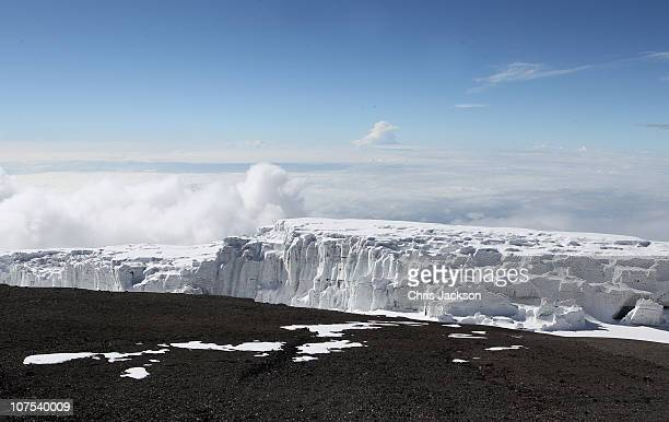 The Kilimanjaro glacier viewed from Uhuru peak on day six of the Martina Navratilova Mt Kilimanjaro Climb Day One on December 11 2010 in Arusha...
