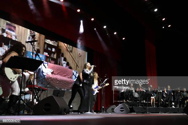 The Killer Queens and actor Tia Carrere perform onstage during the Wayne's World 25th Anniversary Live Read at The Bill Graham Stage during Colossal...