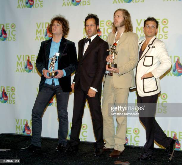 The Killers during 2005 MTV Video Music Awards Press Room at American Airlines Arena in Miami Florida United States