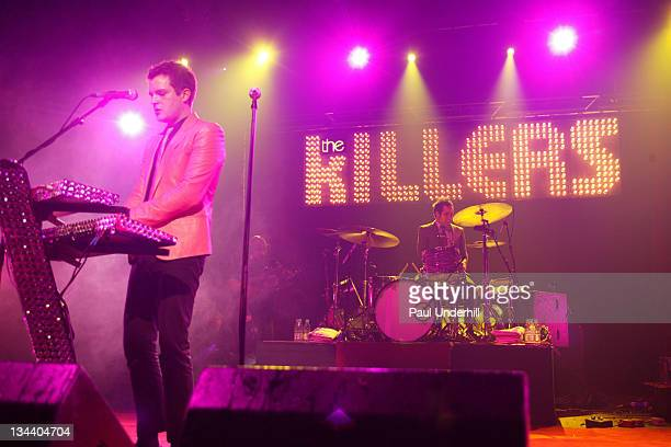 The Killers during Shockwaves NME Awards Tour The Killers Kaiser Chiefs Bloc Party and Futureheads February 9 2005 at Brixton Academy in London Great...