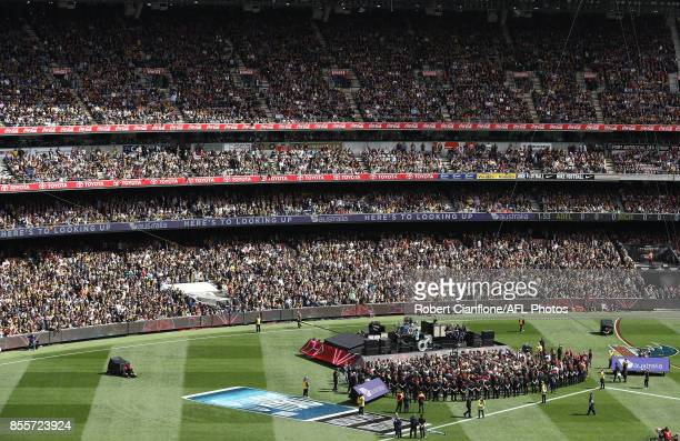 The Killers perfom during the 2017 AFL Grand Final match between the Adelaide Crows and the Richmond Tigers at Melbourne Cricket Ground on September...