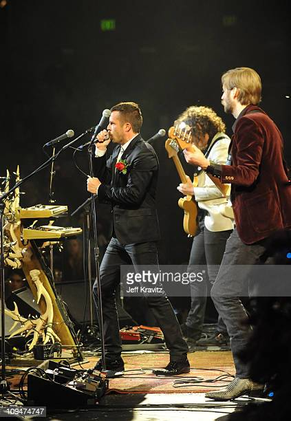 The Killers perform at day two of the KROQ Almost Acoustic Christmas at Gibson Amphitheater on December 9 2007 in Universal City California